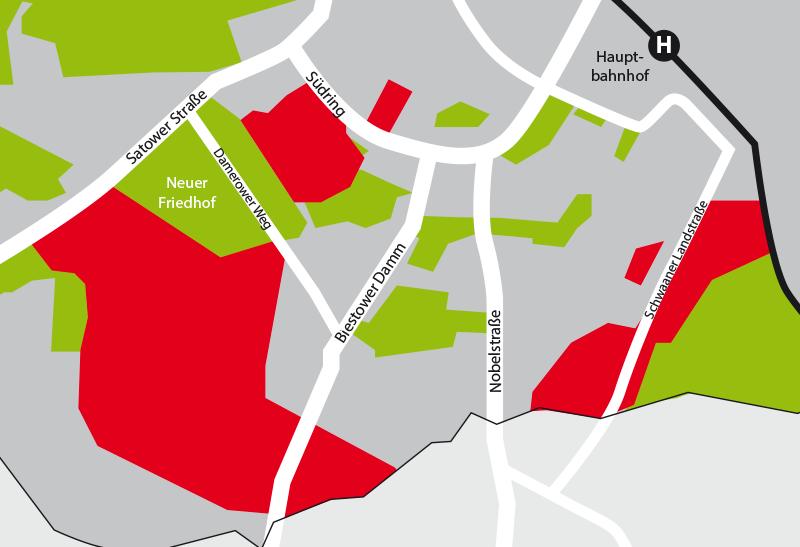 Zukunfstpaln Rostock ausgewiesene Baugebiete Südsadt Rostock